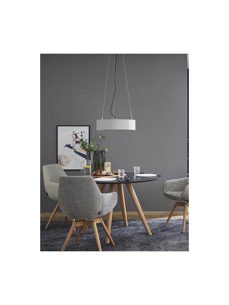 Klassieke hanglamp Pina in lichtgrijs, Lampenkap: stof (sits), Diffuser: kunststof, Baldakijn: metaal, Lichtgrijs, Ø 50 x H 13 cm
