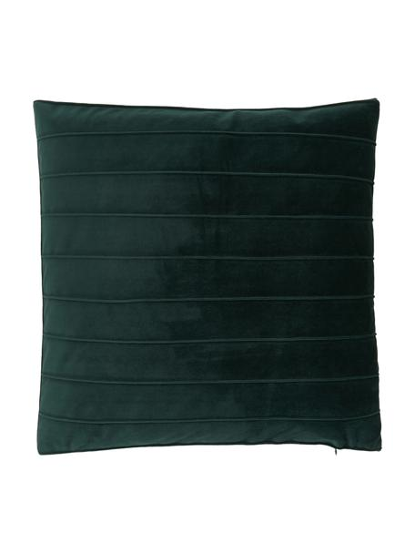 Funda de cojín de terciopelo texturizada Lola, Terciopelo (100%poliéster), Verde, An 40 x L 40 cm