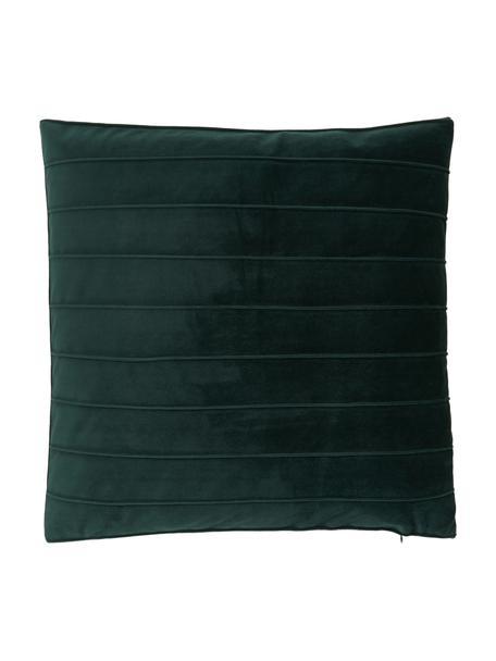 Samt-Kissenhülle Lola in Dunkelgrün mit Struktumuster, Samt (100% Polyester), Grün, 40 x 40 cm