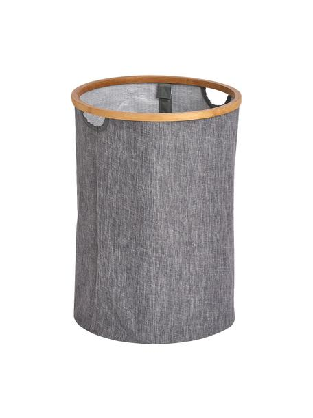Wäschekorb Appa, Korb: Kunstleinen, Gestell: Bambus, Grau, Beige, Ø 36 x H 50 cm