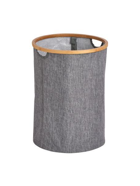 Wasmand Appa, Mand: kunstlinnen, Frame: bamboe, Grijs, beige, Ø 36 x H 50 cm