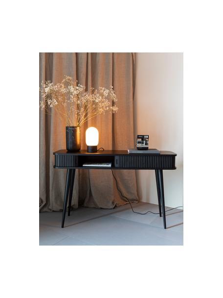 Lámpara de mesa pequeña regulable Urban, con conexión USB, Pantalla: vidrio opalino, Cable: cubierto en tela, Negro, blanco, Ø 13 x Al 25 cm