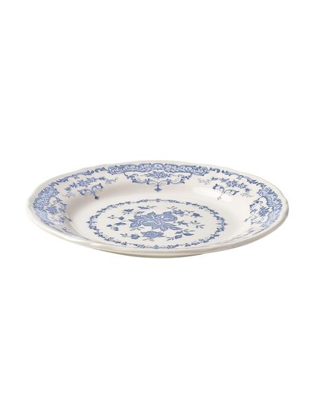 Frühstücksteller Rose mit Blumenmuster in Weiss/Blau, 2 Stück , Keramik, Weiss, Blau, Ø 21 x 1 cm