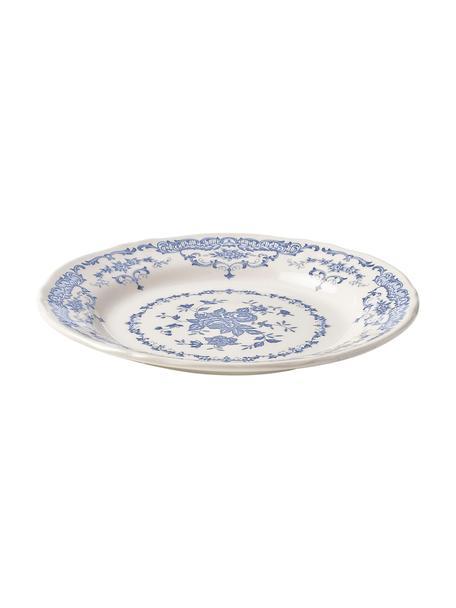 Ontbijtborden Rose met bloemmotief in wit/blauw, 2 stuks, Keramiek, Wit, blauw, Ø 21 x H 1 cm
