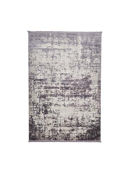 Schimmernder Teppich Cordoba in Grautönen mit Fransen, Vintage Style, Flor: 70% Acryl, 30% Viskose, Grautöne mit leichtem Lilastich, B 200 x L 290 cm (Größe L)