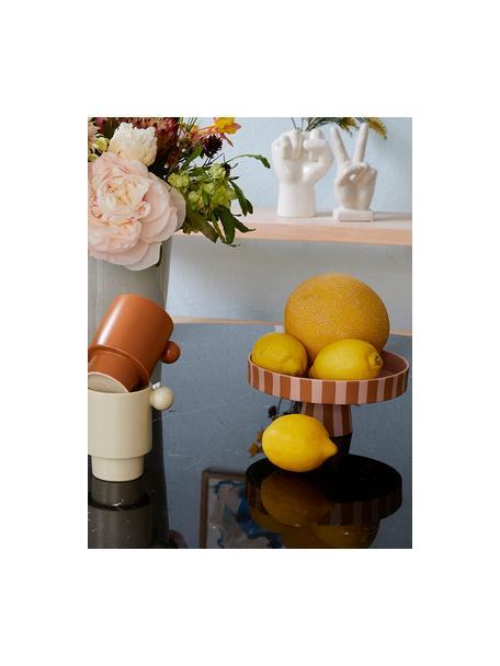 Alzatina in ceramica a righe Toppu, Ceramica, Marrone caramello, rosa, Ø 20 x Alt. 9 cm