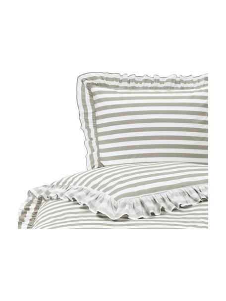 Pościel z perkalu bawełnianego Averni, Beżowy, biały, 135 x 200 cm + 1 poduszka 80 x 80 cm