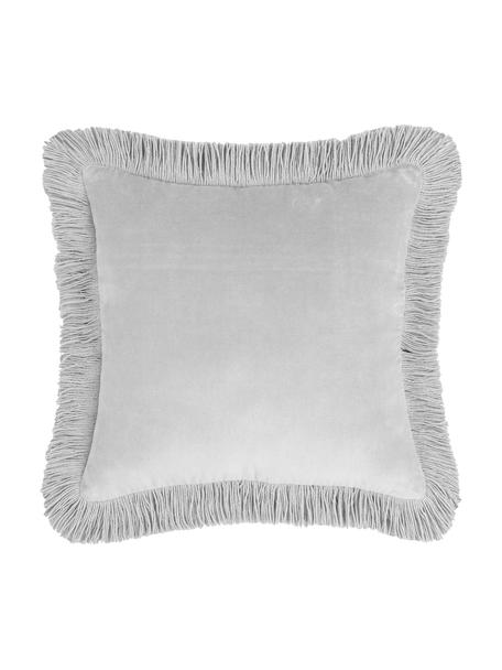 Funda de cojín de terciopelo con flecos Phoeby, 100%algodón, Gris claro, An 40 x L 40 cm