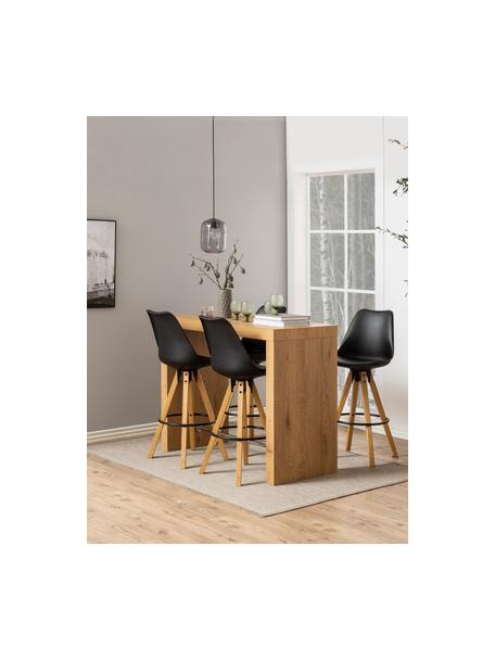Barstühle Dima in Schwarz, 2 Stück, Sitzschale: Polyurethan, Bezug: Polyester, Beine: Gummibaumholz, geölt, Sitzschale: Schwarz Beine: Gummibaumholz Fussstütze: Schwarz, 49 x 112 cm