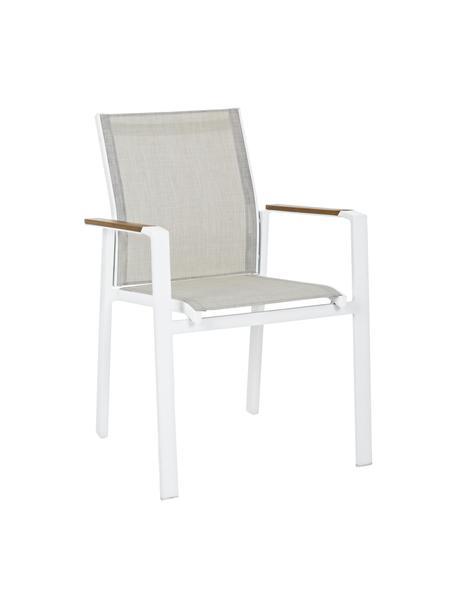 Krzesło ogrodowe z podłokietnikami Kubik, Stelaż: aluminium malowane proszk, Biały, greige, drewno naturalne, S 57 x G 62 cm