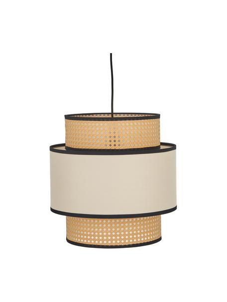 Hanglamp Vienna van Weens vlechtwerk, Lampenkap: katoenmix, kunststof, Baldakijn: gepoedercoat metaal, Beige, zwart, crèmekleurig, Ø 40  x H 40 cm