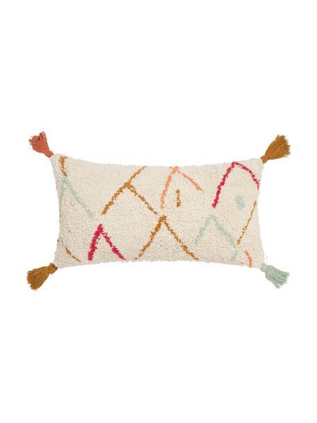 Pluizige boho kussenhoes Asila met gekleurde franjes, 100% katoen, Crèmekleurig, multicolour, 30 x 60 cm