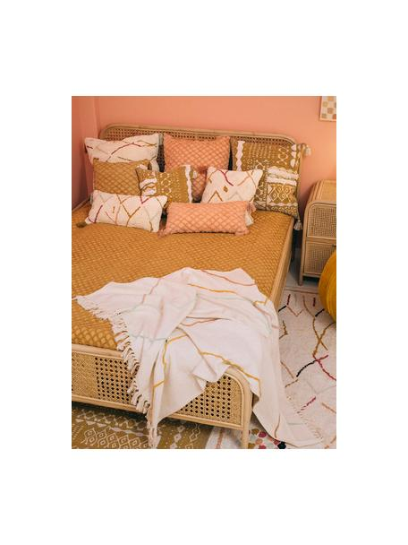 Flauschige Bohokissenhülle Asila mit bunten Quasten, 100% Baumwolle, Cremefarben, Mehrfarbig, 30 x 60 cm