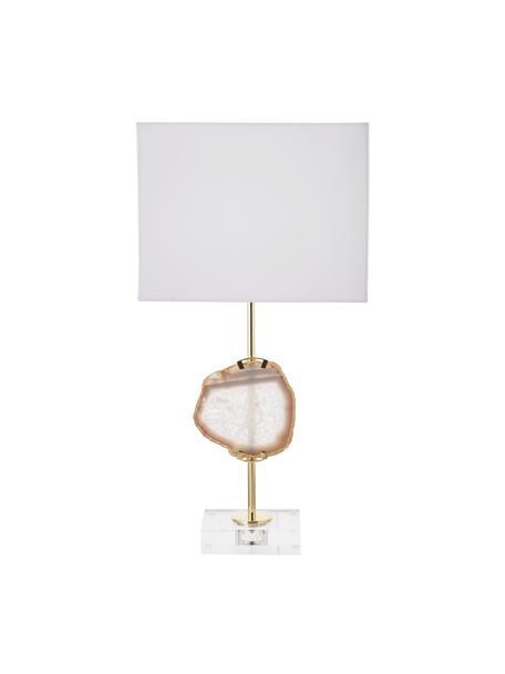 Duża lampa stołowa z dekoracją z agatu Treasure, Transparentny, odcienie złotego, beżowy agat Klosz: biały, S 33 x W 62 cm