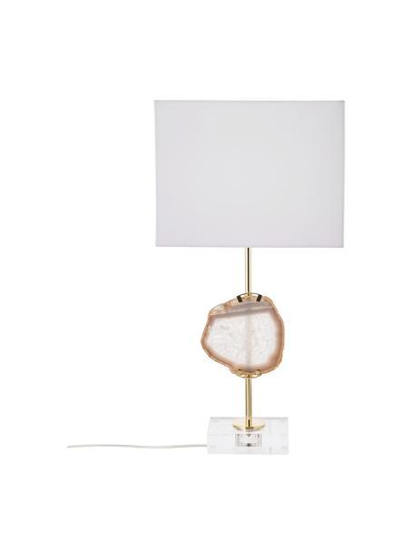 Lampa stołowa z dekorem z agatu Treasure, Transparentny, odcienie złotego, beżowy agat Klosz: biały, S 33 x W 62 cm