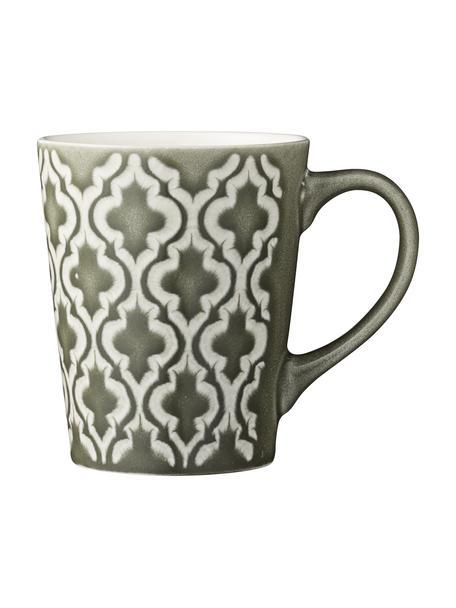 Tassen Abella in Grün/Weiß mit Strukturmuster, 4 Stück, Keramik, Grün, Weiß, Ø 9 x H 11 cm