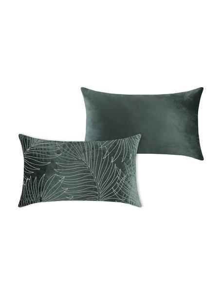 Bestickte Samt-Kissenhülle Panama, 100% Polyestersamt, Grünblau, Weiß, 30 x 50 cm