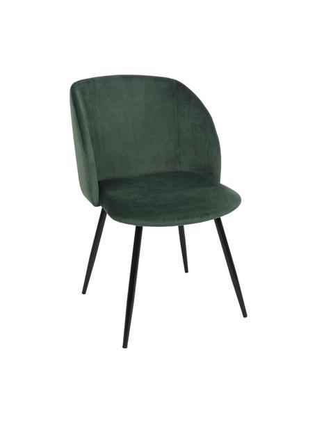 Sedia imbottita in velluto verde Crown, Seduta: velluto di poliestere, Struttura: compensato, Gambe: metallo verniciato a polv, Verde, Larg. 60 x Alt. 53 cm