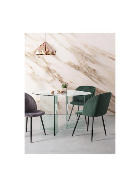 Krzesło tapicerowane z aksamitu Crown, Stelaż: drewno warstwowe, Nogi: metal malowany proszkowo, Zielony, S 60 x G 53 cm