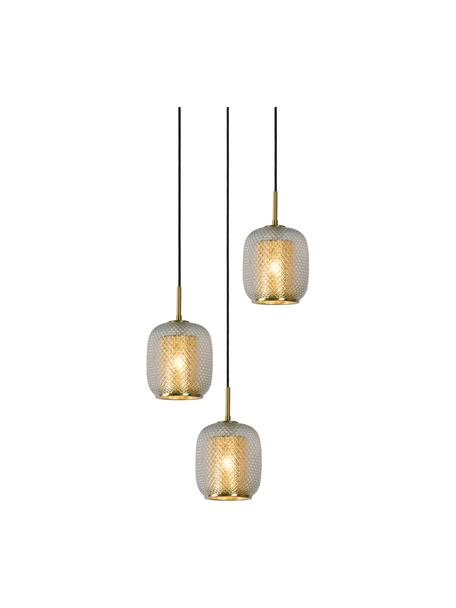 Cluster-Pendelleuchte Agatha aus Glas, Baldachin: Metall, Dekor: Metall, Grau, transparent, Messingfarben, Ø 35 x H 20 cm
