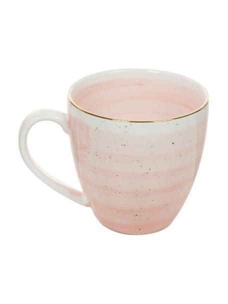 Handgemaakte koffiekopjes Bella met goudkleurige rand, 2 stuks, Porselein, Roze, Ø 9 x H 9 cm