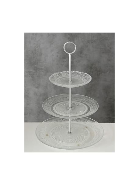 Etagere Relief aus Glas mit silbernem Gestell, Ø 25 cm, Ablagefläche: Glas, Stange: Metall, Transparent, Ø 25 x H 35 cm