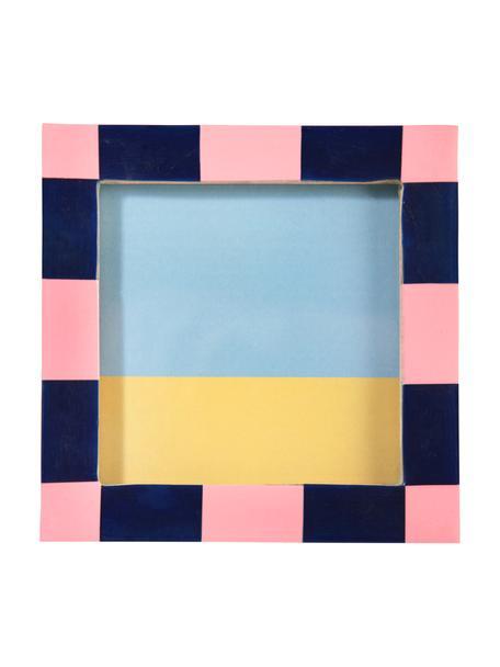 Fotolijstje Check, Polyresin, MDF, Blauw, roze, 13 x 13 cm