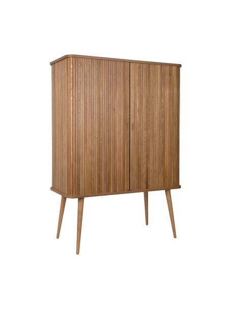 Chiffonnier Barbier, Estructura: tablero de fibras de dens, Estantes: vidrio, Fresno, marrón, An 100 x Al 140 cm