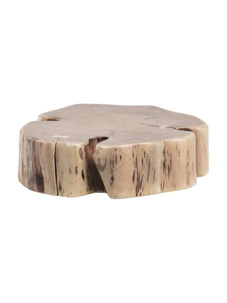 Tavolino da salotto in legno massiccio con ruote Essi, Piano d'appoggio: legno di acacia, Piedini: acciaio, Ruote: materiale sintetico, Marrone, Ø 65 x Alt. 23 cm