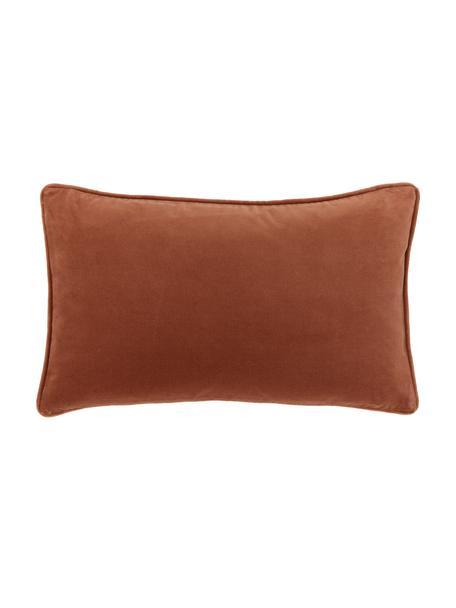 Federa arredo in velluto rosso ruggine Dana, 100% velluto di cotone, Rosso ruggine, Larg. 30 x Lung. 50 cm