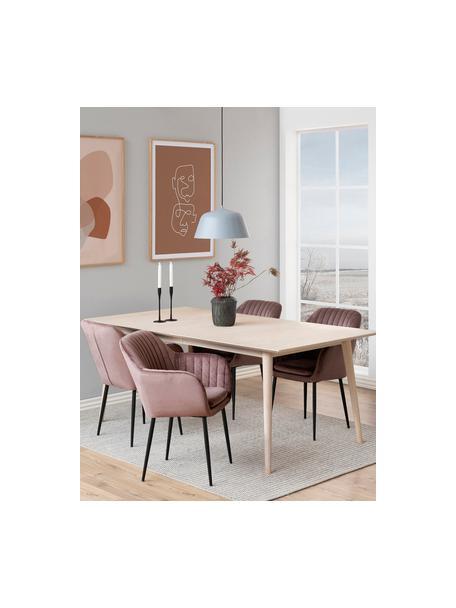 Krzesło z podłokietnikami z aksamitu i metalowymi nogami Emilia, Tapicerka: aksamit poliestrowy Dzięk, Nogi: metal lakierowany, Aksamit blady różowy, czarny, S 57 x G 59 cm
