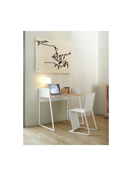 Kleiner Schreibtisch Camille mit Ablage, Beine: Metall, lackiert, Eichenholz, Weiss, B 90 x T 60 cm