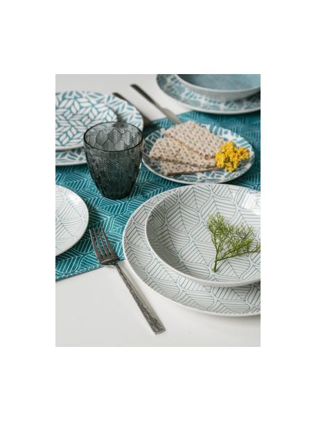 Tischläufer Bali Leaf, 100% Polyester, Türkis, Weiss, 178 x 33 cm
