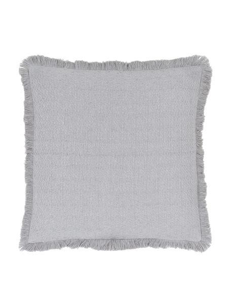 Poszewka na poduszkę z frędzlami Lorel, 100% bawełna, Jasny szary, S 40 x D 40 cm