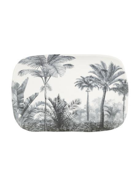 Piatto da portata con motivo palme Papaye, Porcellana, Bianco, nero, Lung. 28 x Larg. 18 cm
