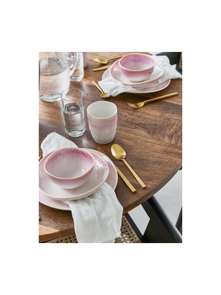 Set van 2 handgemaakte dinerborden Amalia met effectief glazuur, Keramiek, Lichtroze, crèmewit, Ø 25 cm