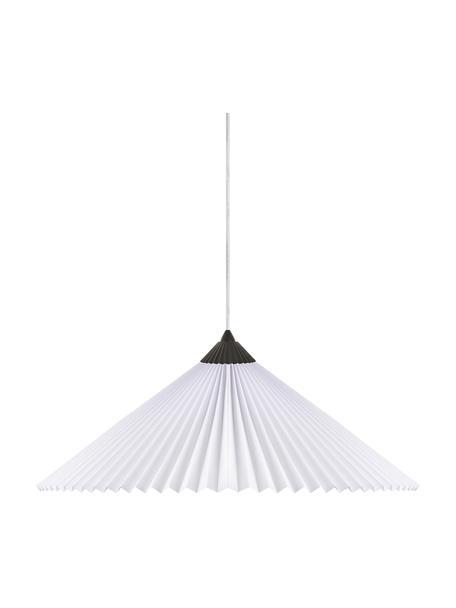 Lampada a sospensione in tessuto plissettato Matisse, Paralume: cotone poliestere, Baldacchino: materiale sintetico, Bianco, nero, Ø 60 x Alt. 18 cm
