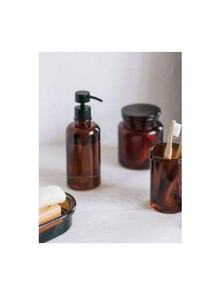 Seifenspender Dorsey, Behälter: Glas, Pumpkopf: Kunststoff, Braun, Schwarz, Ø 7 x H 19 cm