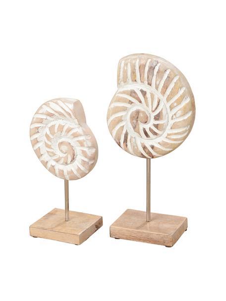 Decoratieve schelpenset Ana, 2-delig, Mangohout, metaal, Mangohoutkleurig, wit, Set met verschillende formaten