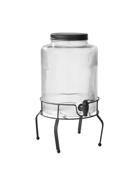Słój do napojów z kranikiem Maxim, Stelaż: metal powlekany, Transparentny, czarny, Ø 14 x W 43 cm