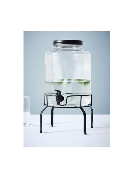 Getränkespender Maxim, Gestell: Metall, beschichtet, Transparent, Schwarz, Ø 14 x H 43 cm