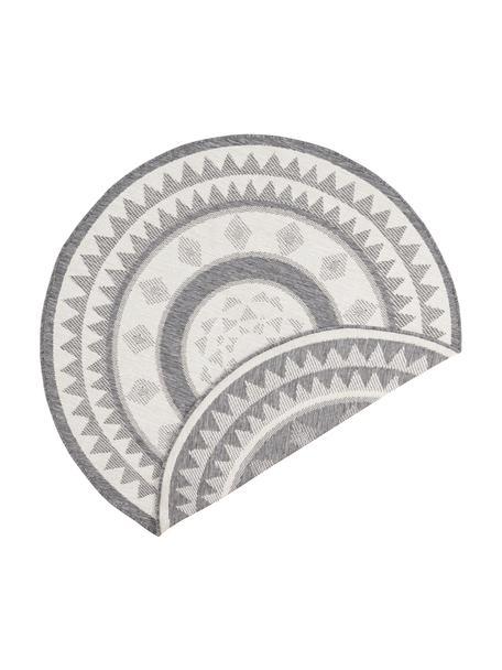 Rond dubbelzijdig in- en outdoor vloerkleed Jamaica in grijs/crèmekleur, 100% polypropyleen, Grijs, crèmekleurig, Ø 140 cm (maat M)