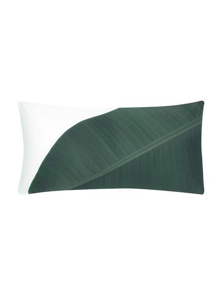 Poszewka na poduszkę z perkalu Banana, 2szt., Przód: odcienie zielonego Tył: biały, gładki, S 40 x D 80 cm
