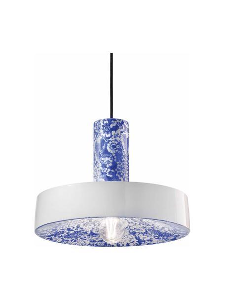 Keramik-Pendelleuchte Pi mit floralem Muster, Lampenschirm: Keramik, Baldachin: Keramik, Blau, Weiß, Ø 35 x H 26 cm