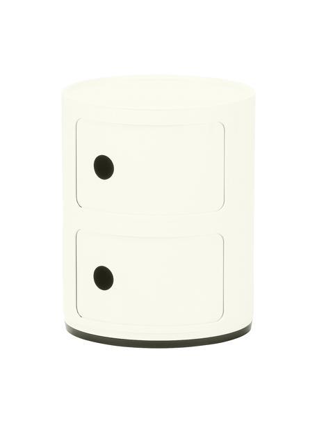 Comodino contenitore di design con 2 cassetti Componibili, Materiale sintetico (ABS), verniciato, bianco opaco, Ø 32 x Alt. 40 cm