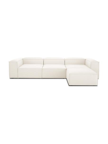 Modulares Sofa Lennon (4-Sitzer) mit Hocker in Beige, Bezug: Polyester Der hochwertige, Gestell: Massives Kiefernholz, Spe, Webstoff Beige, B 327 x T 207 cm