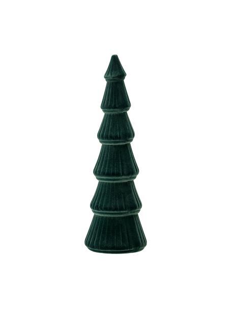 Fluwelen decoratief object Tree, MDF, polyester fluweel, Donkergroen, Ø 10 cm