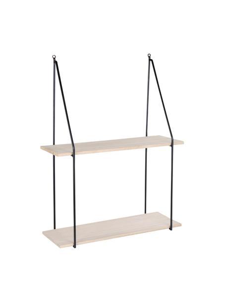 Wandrek Haag van metaal en hout, Frame: gecoat staal, Zwart, bruin, 55 x 72 cm