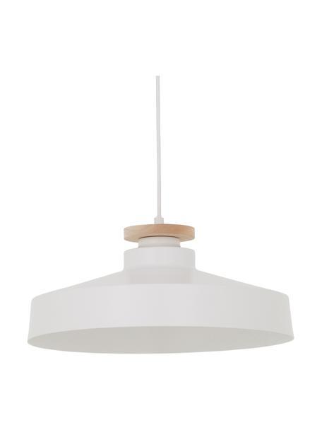 Lámpara de techo Malmö, estilo escandinavo, Pantalla: metal, Anclaje: metal, Cable: cubierto en tela, Blanco, Ø 40 x Al 20 cm