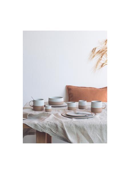 Milchkännchen Caja in Braun/Beige matt, Steingut, Beige, Braun, Ø 9 x H 7 cm